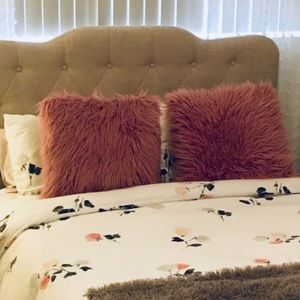 Pink fur pillows